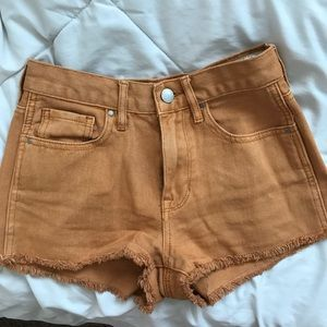 Burnt orange denim shorts